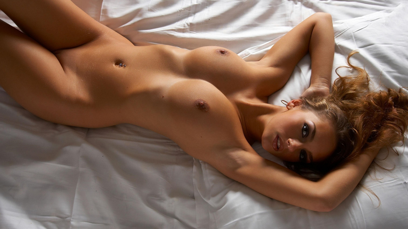 Perfect body naked, brunette with big tits