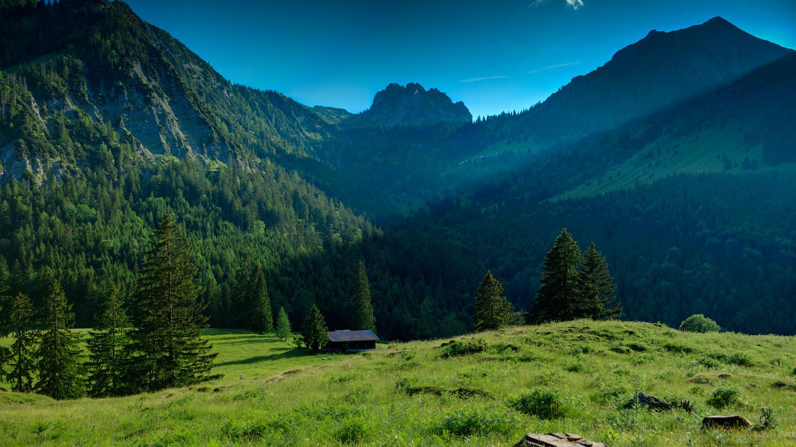 Озеро, гора, зеленый лес  № 621688 бесплатно