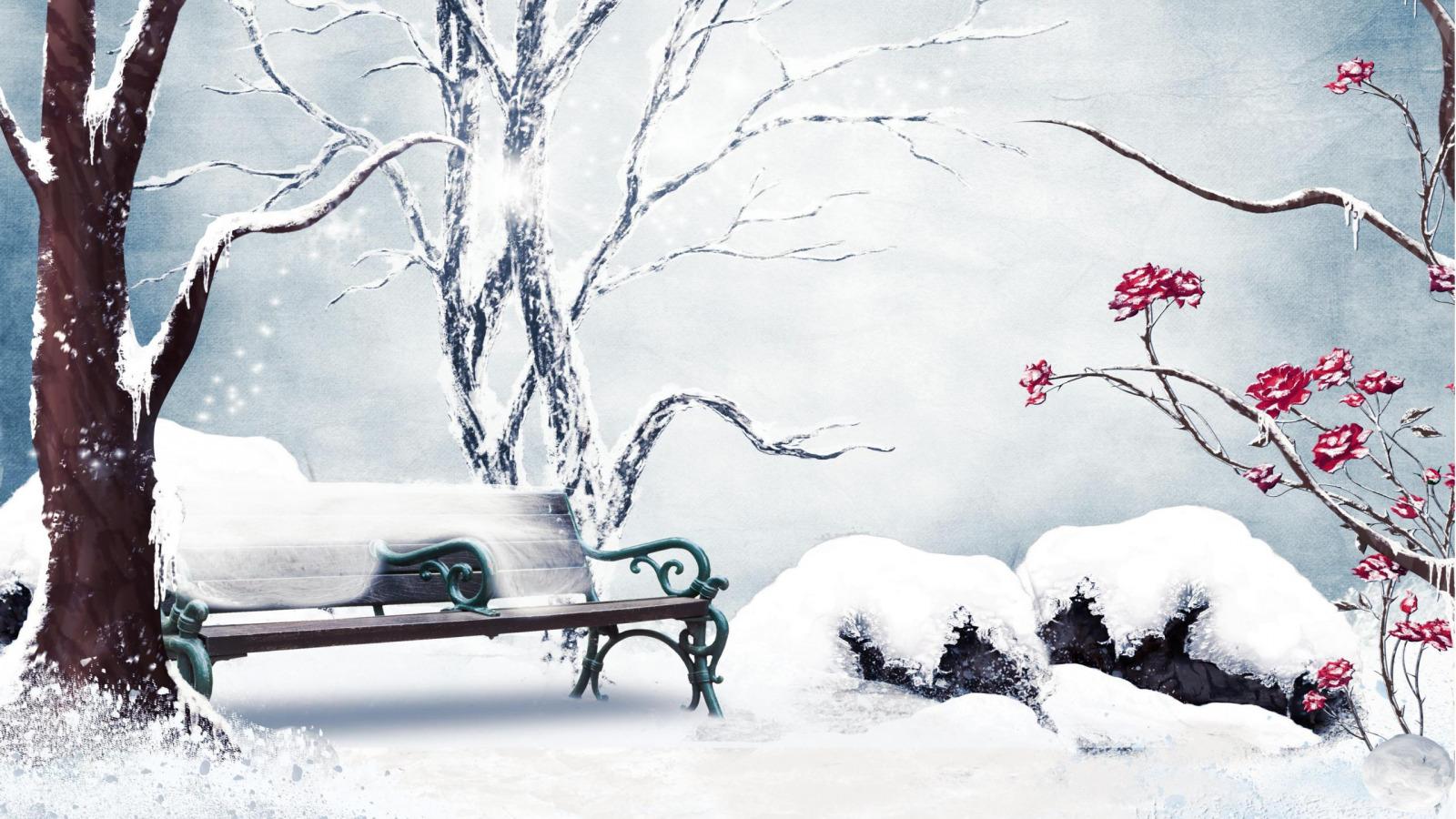 нарисованная зима обои на рабочий стол № 1239641 без смс