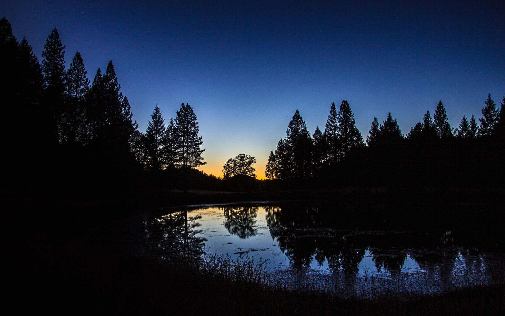 озеро в лесу на закате  № 380176 бесплатно