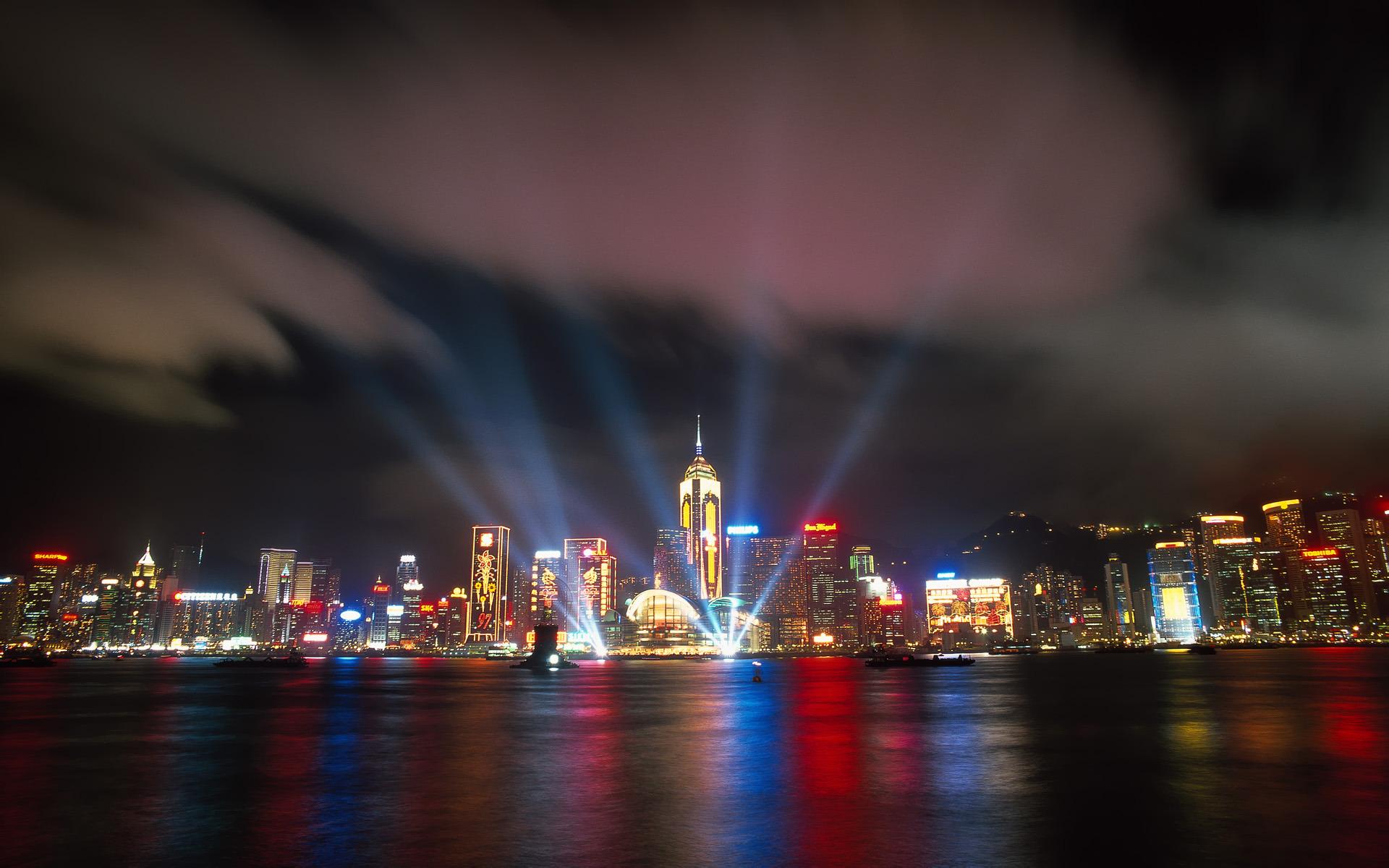 страны архитектура ночь Гонконг  № 1481667 бесплатно