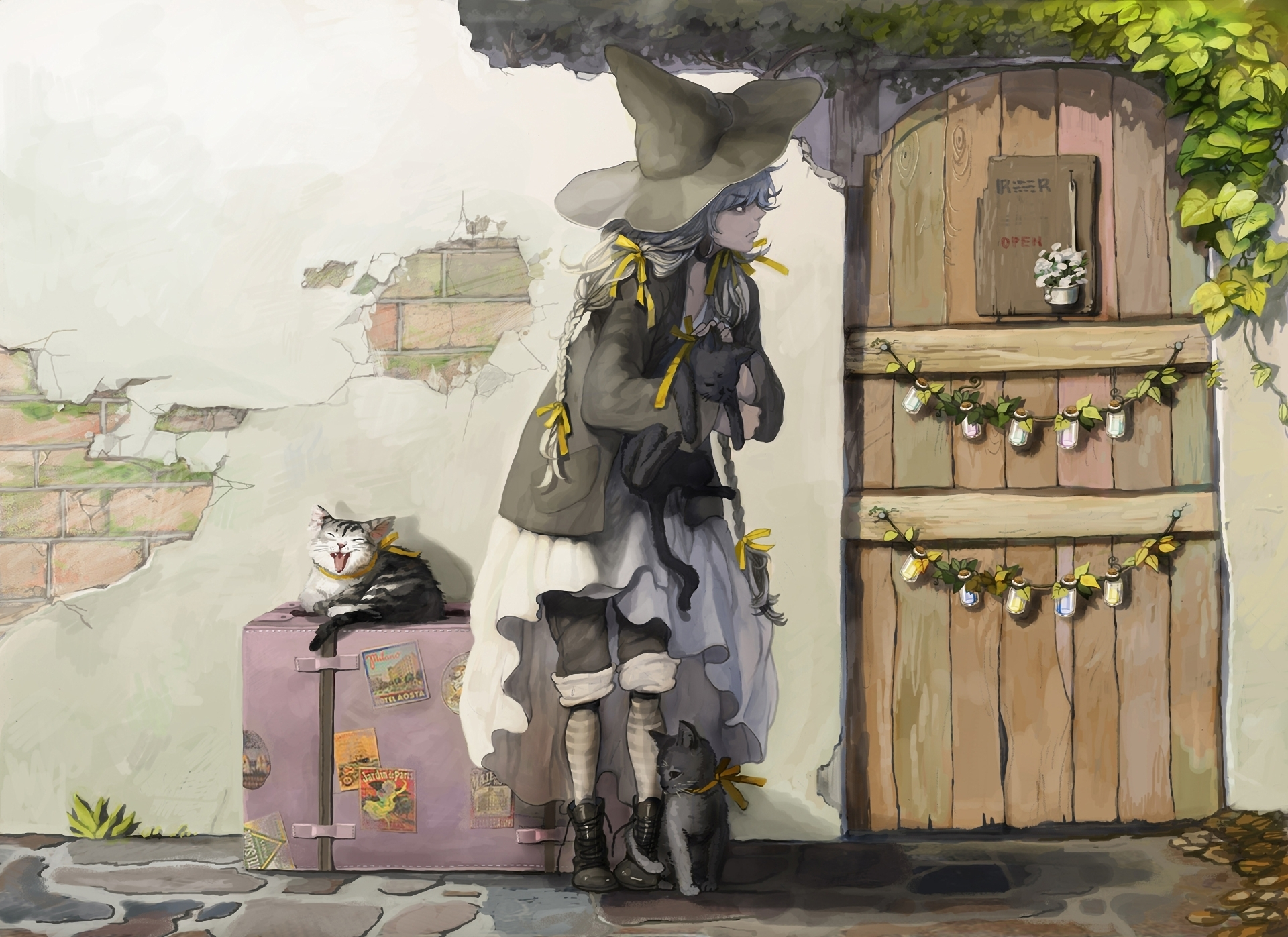 дом дверь чемодан женщина  № 3387962 без смс