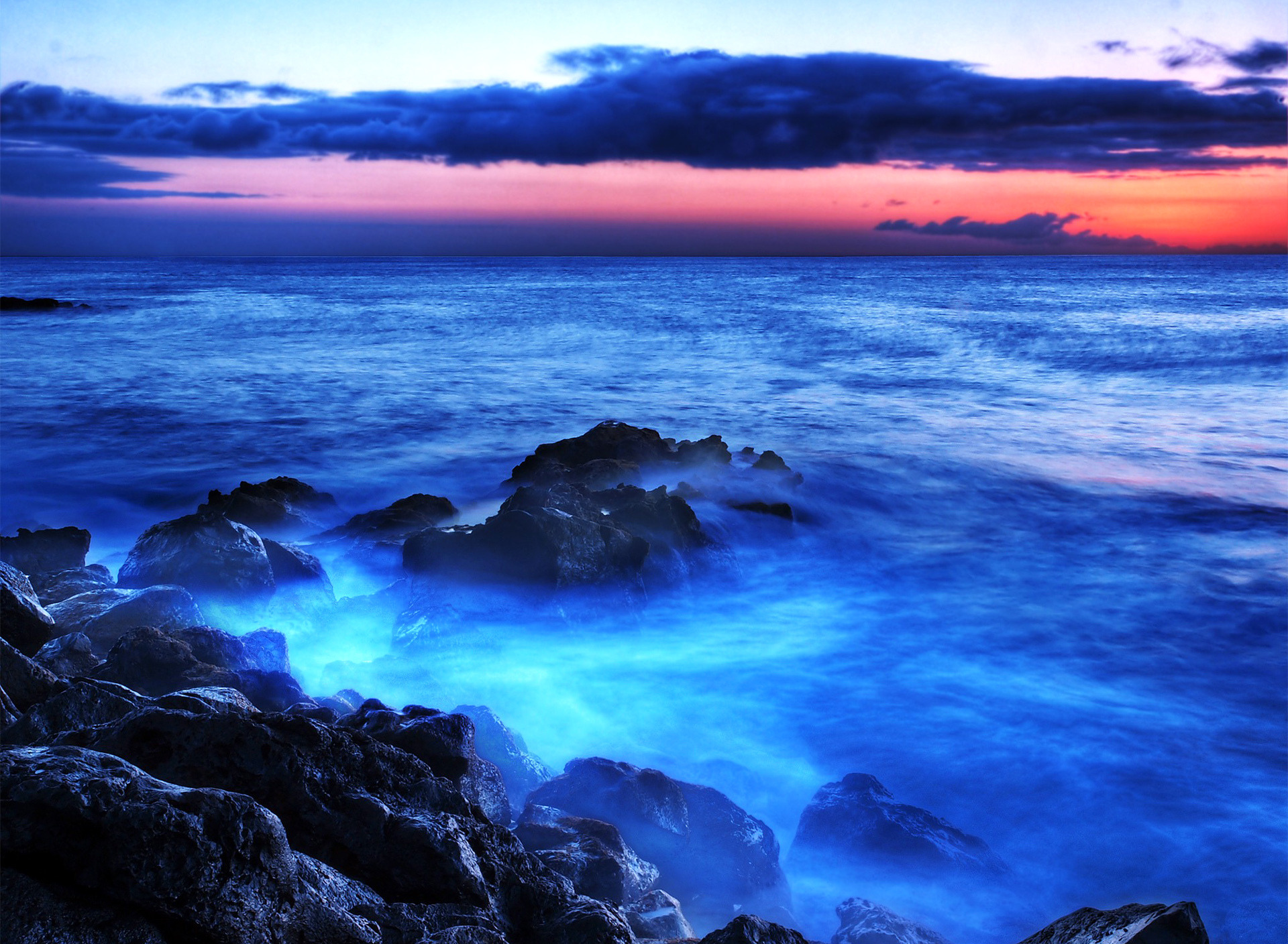 природа море горизонт камни облака небо скалы  № 432405 без смс