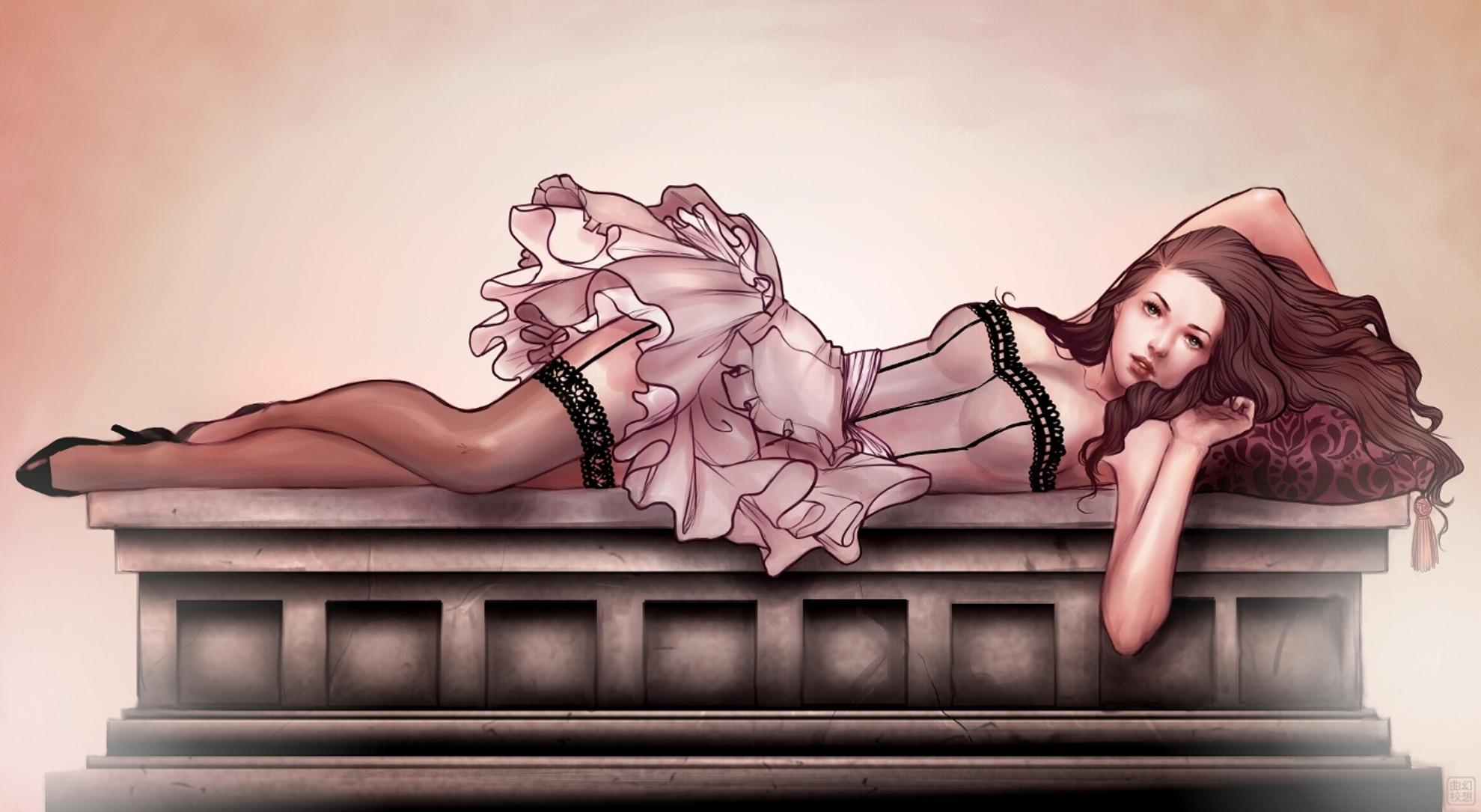 Рисованные девушки в чулках