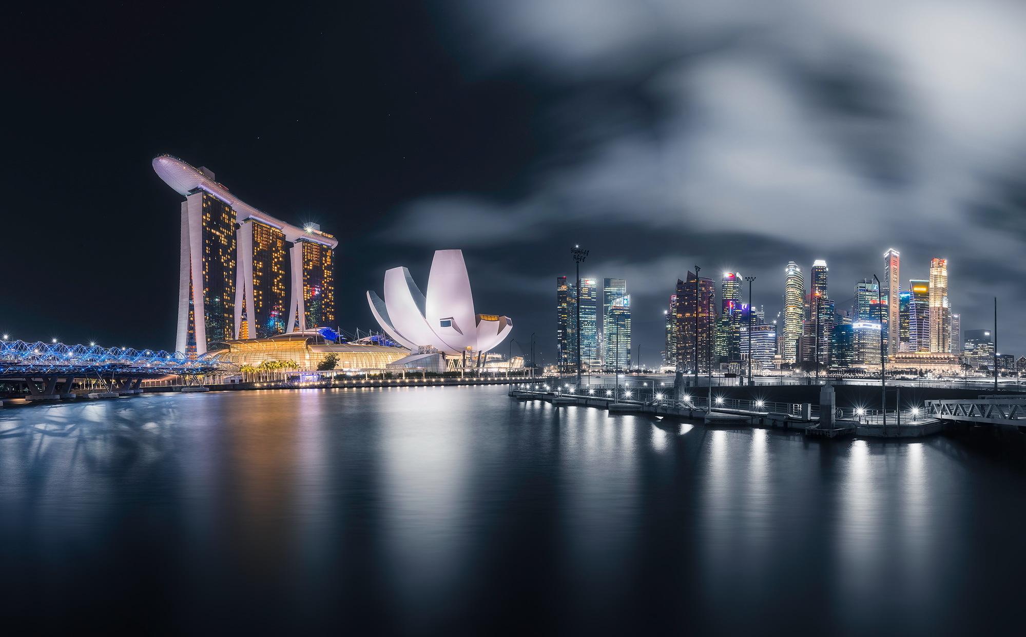 страны архитектура Сингапур ночь  № 1476094 без смс
