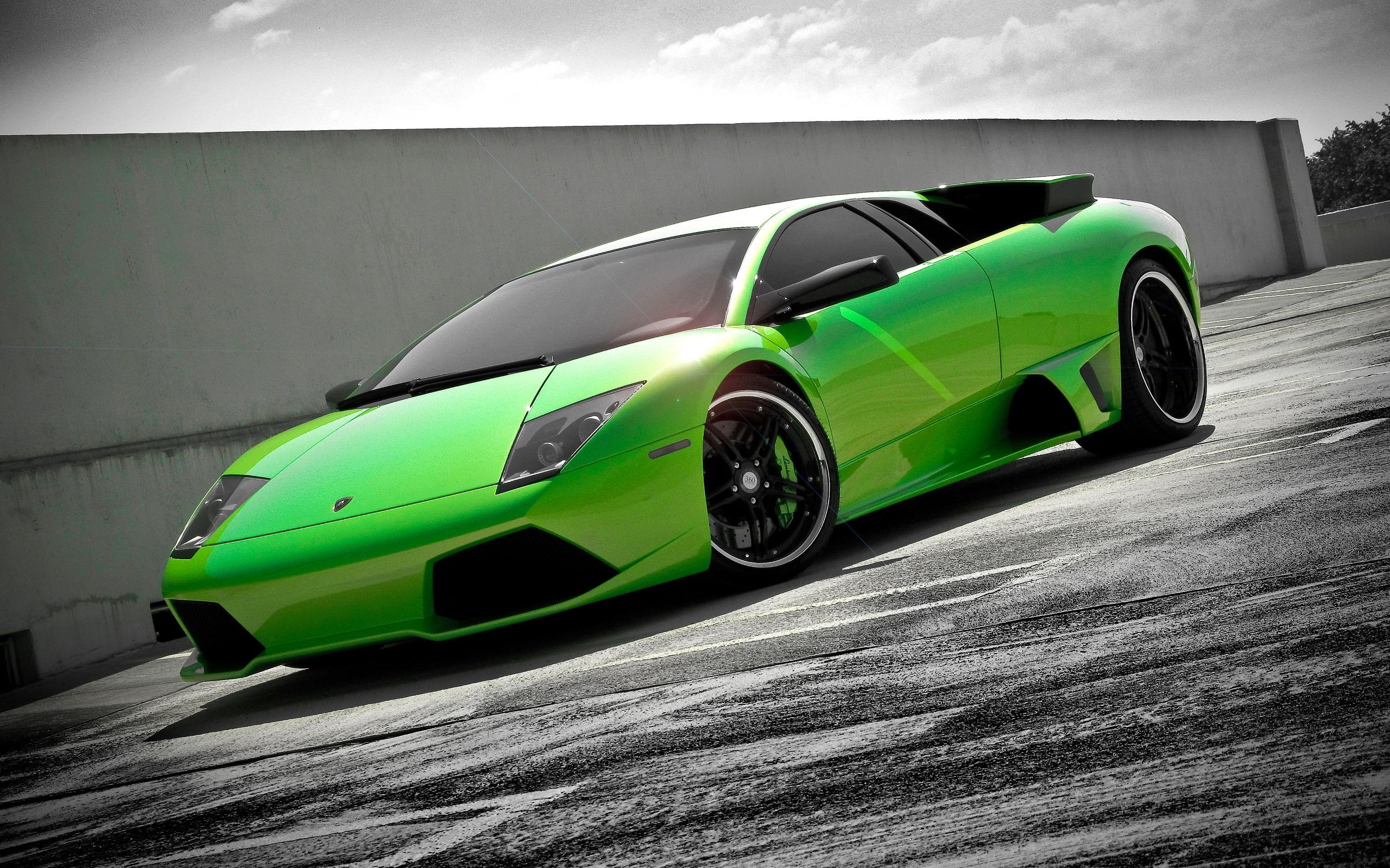 спортивный зеленый автомобиль Lamborghini  № 2996301  скачать