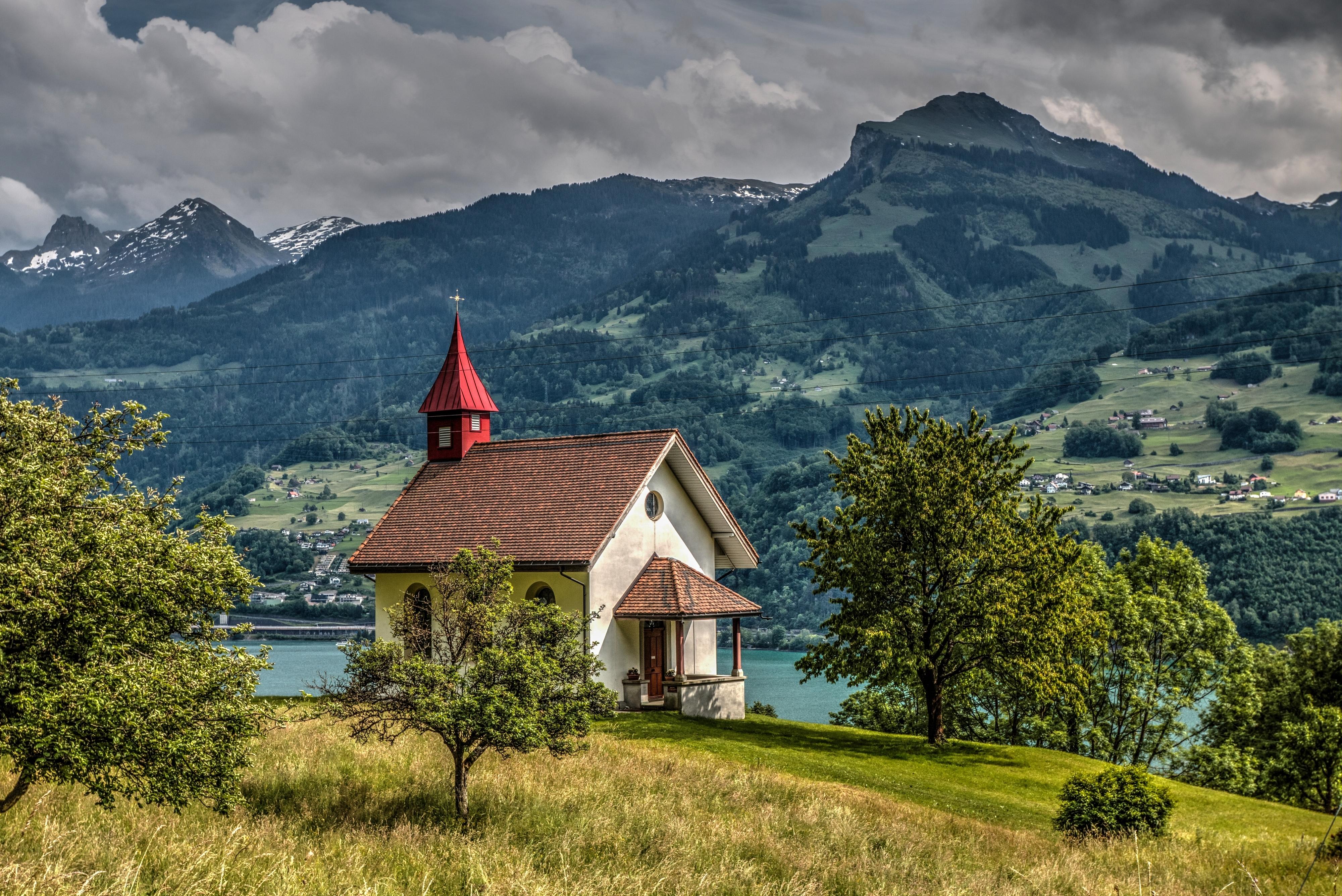 Швейцария Горы река деревья трава  № 183936 бесплатно