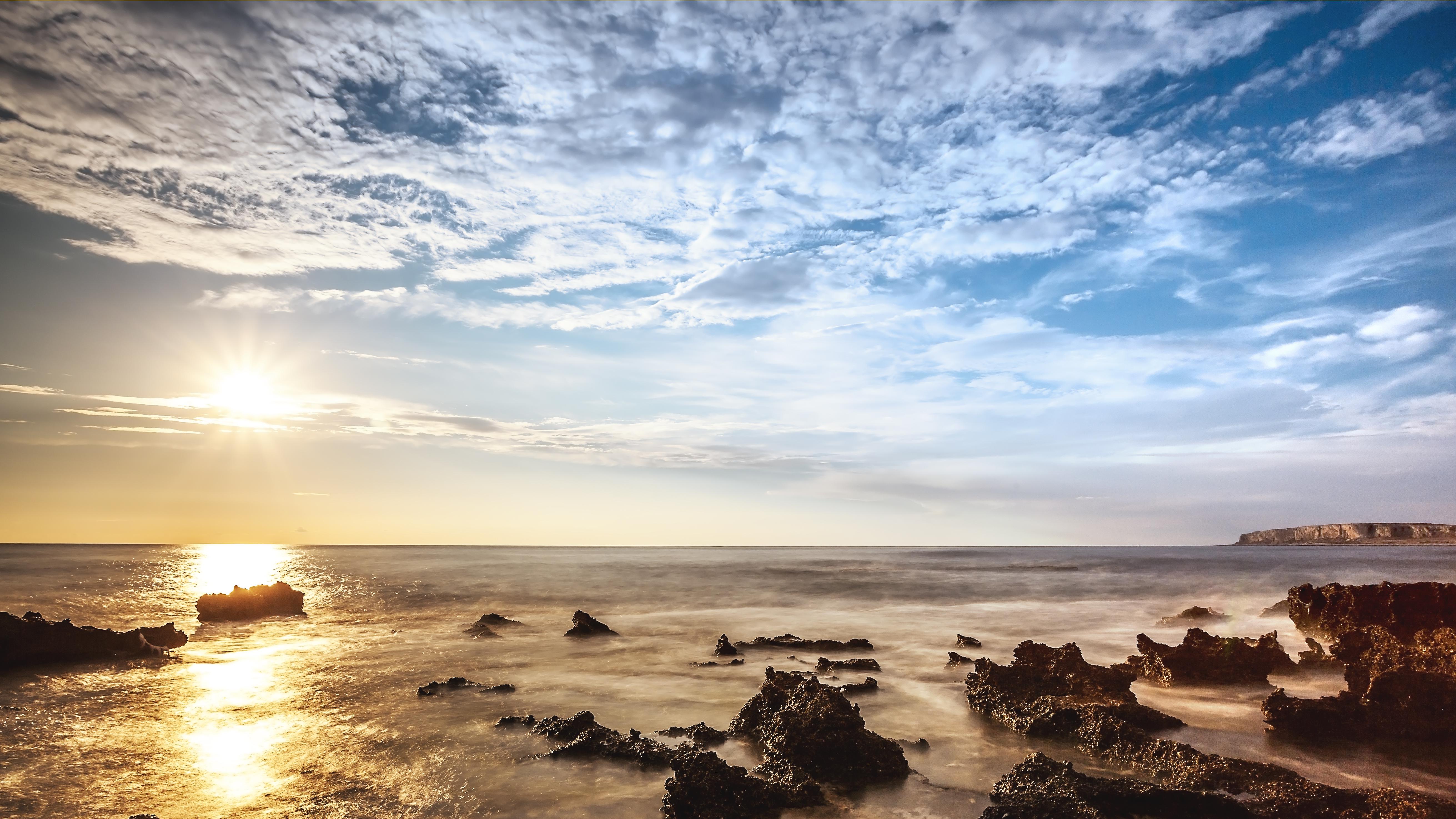 природа море солнце горизонт небо облака  № 717743 без смс