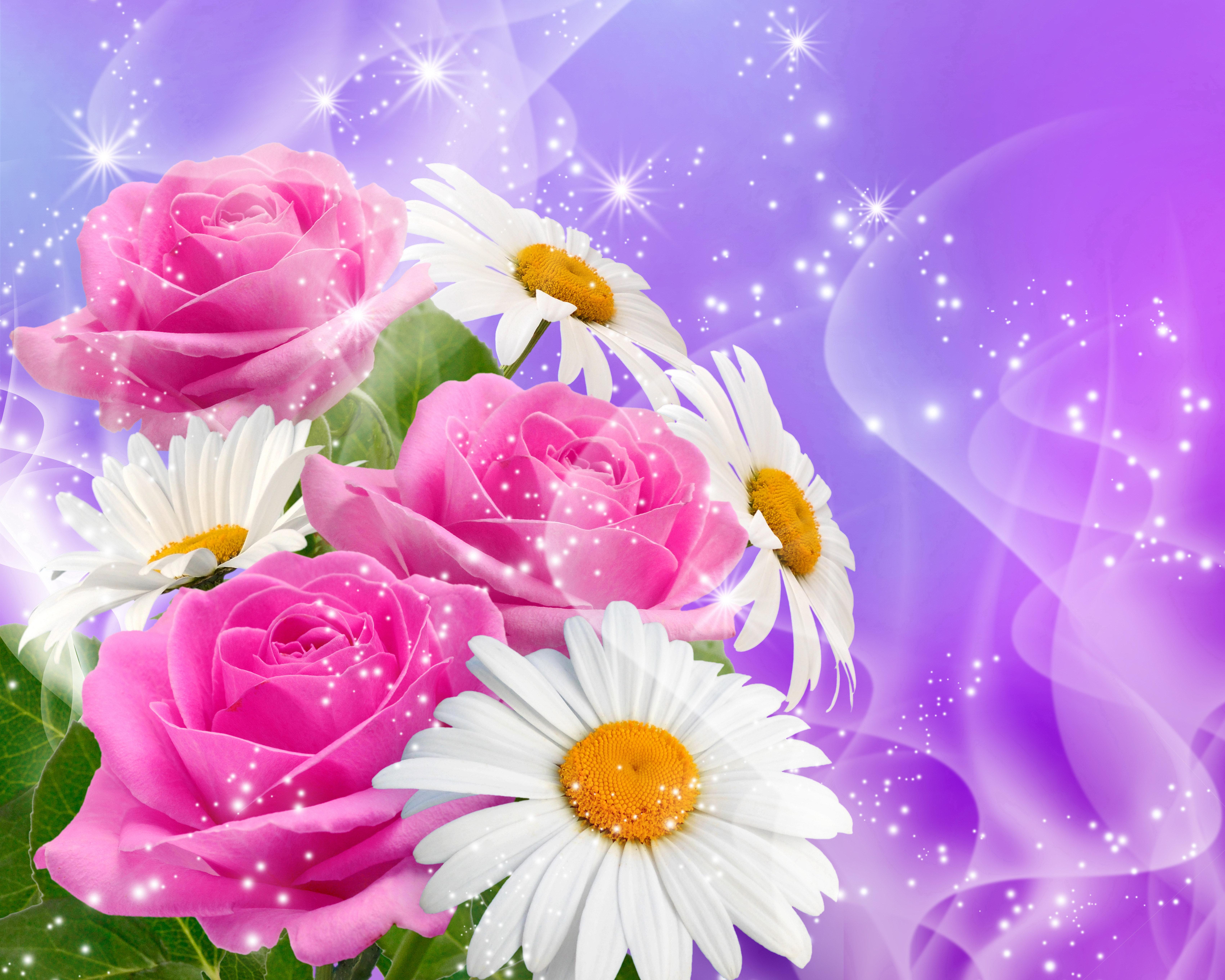 Открытка с днем рождения розы и ромашки
