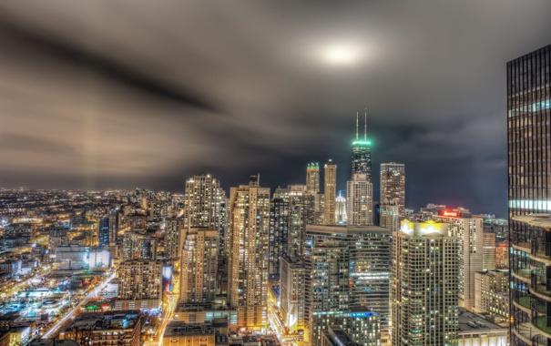 Фото обои огни, здания, Чикаго, ночной город, Chicago, небоскрёбы
