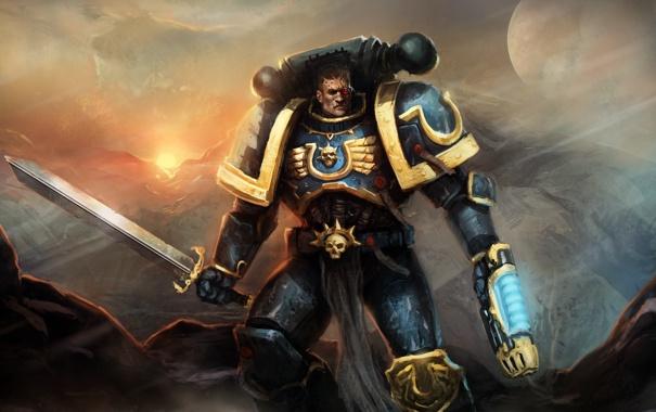 Фото обои фантастика, меч, солдат, броня, warhammer, ultramarines, Warhammer 40K