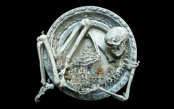 Фото обои останки, скелет, гравировка