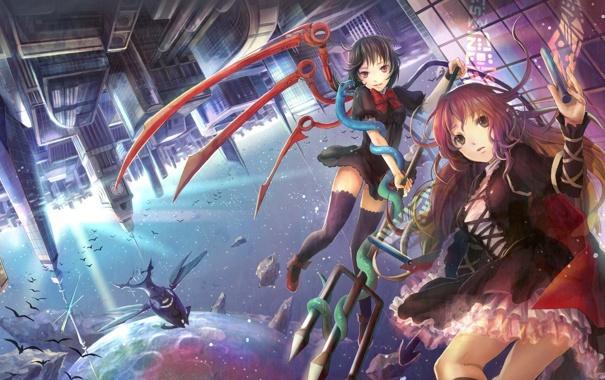 Фото обои город, девушки, луна, аниме, трезубец, fuji choko