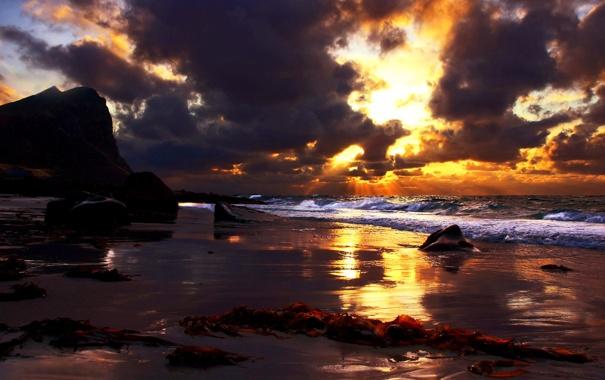 Фото обои небо, океан, Arctic sunrise