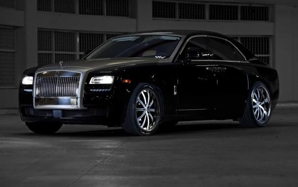 Фото обои чёрный, Rolls-Royce, Ghost, black, ролс ройс, гост