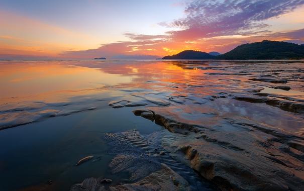 Фото обои закат, камни, скалы, небо, облака, море, отлив