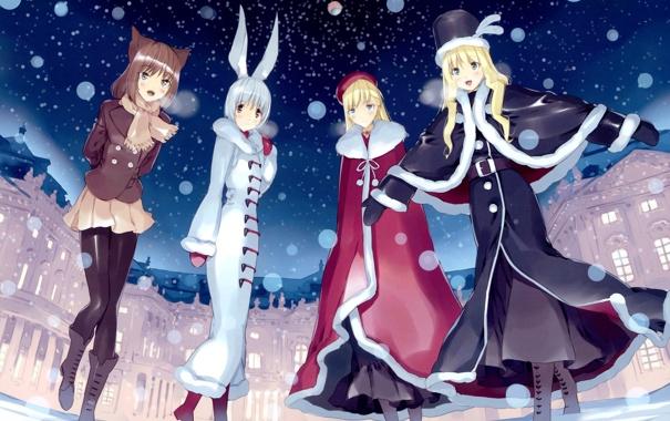 Фото обои зима, снег, ночь, девушки, шапка, дома, аниме