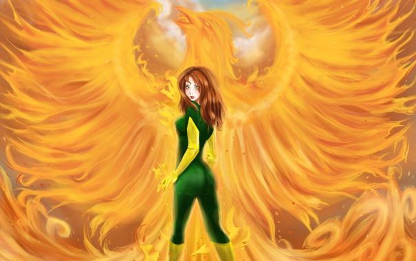 Фото обои взгляд, девушка, фантастика, огонь, птица, волосы, костюм