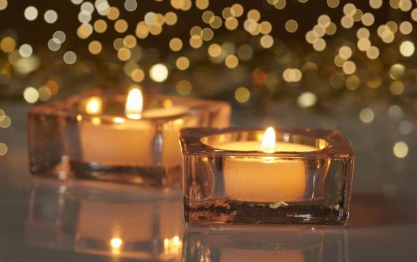 Фото обои огонь, свечи, Christmas, блик, New, decoration, Holidays
