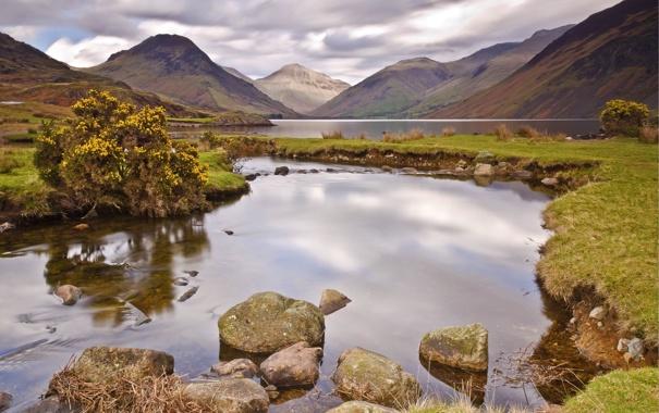 Фото обои вода, облака, озеро, отражение, река, камни, дерево