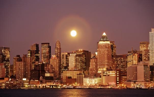 Фото обои wallpaper, здания, солнце, вода, город, обои, нью-йорк