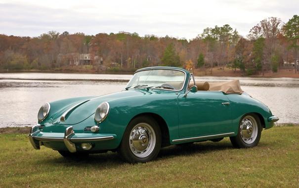 Фото обои небо, вода, деревья, Roadster, Porsche, зелёный, родстер