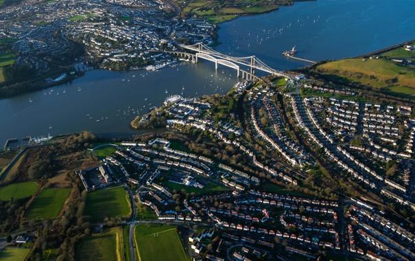 Фото обои мост, город, река, дома
