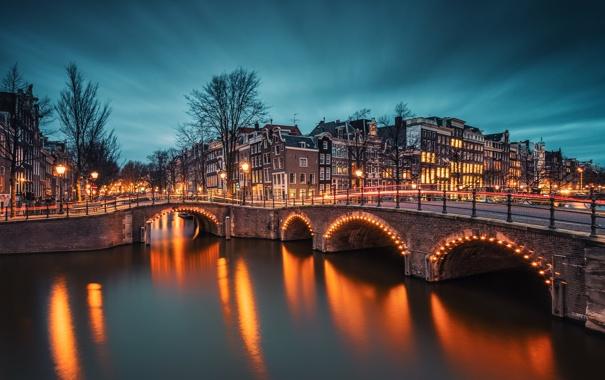 Фото обои дорога, свет, мост, город, огни, река, здания