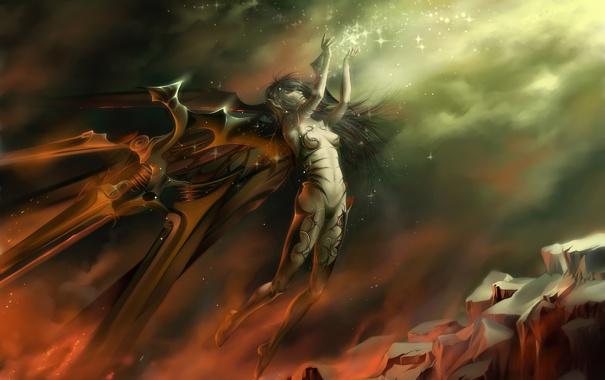 Фото обои девушка, скала, магия, механизм, крылья, искры, зарево