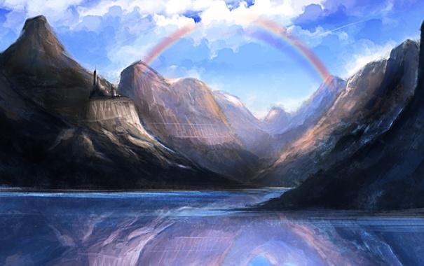 Фото обои небо, облака, горы, природа, озеро, отражение, радуга