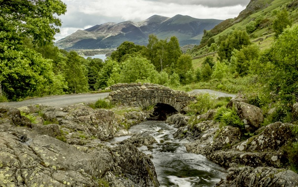 Фото обои England, Ashness Bridge, речка, Lake District, Англия, деревья, дорога
