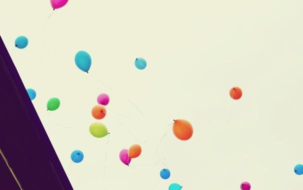 Фото обои шарики, полет, радость, счастье, вверх, разноцветные, ностальгия
