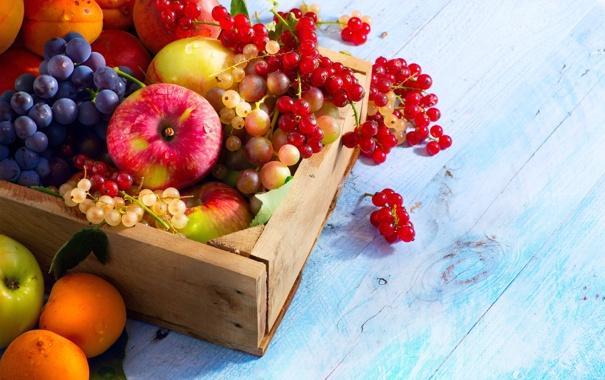 Фото обои ягоды, яблоки, виноград, фрукты, ящик, смородина, абрикосы