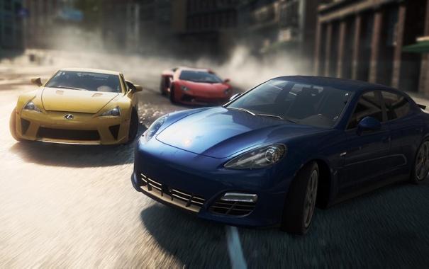 Фото обои город, гонка, Porsche, lexus lfa, need for speed most wanted 2, Lamborghini Aventador LP700-4