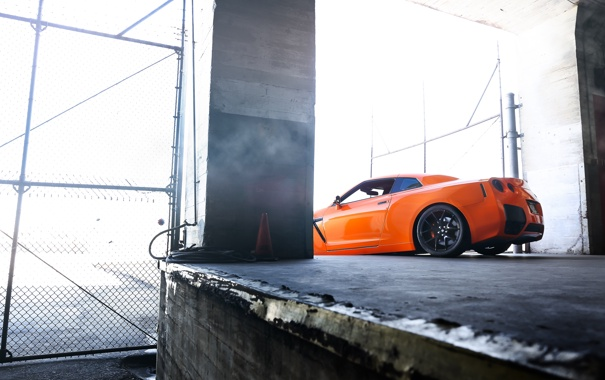 Фото обои оранжевый, nissan, вид сзади, ниссан, gt-r, orange, гт-р