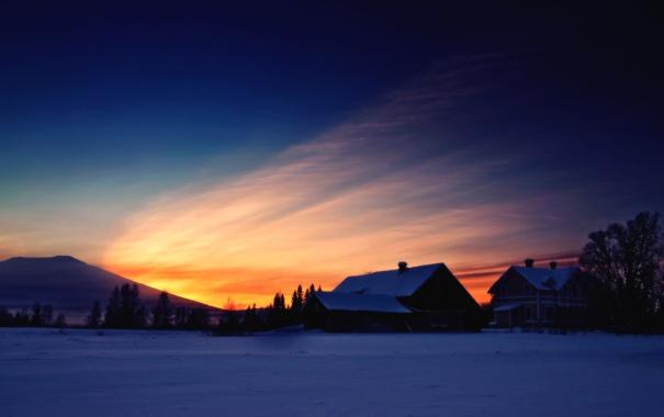 Фото обои зима, снег, закат, гора, дома