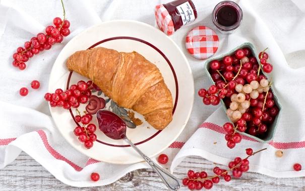 Фото обои ягоды, еда, завтрак, тарелка, ложка, красная, смородина