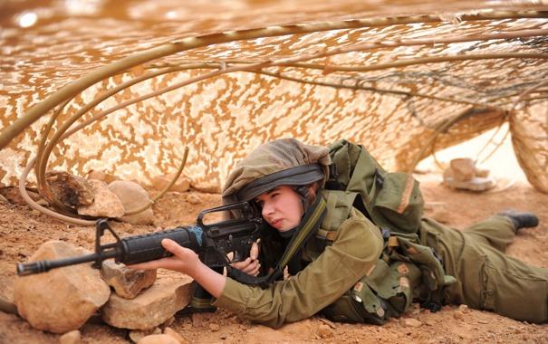 Фото обои девушка, солдат, Israel Defence Force