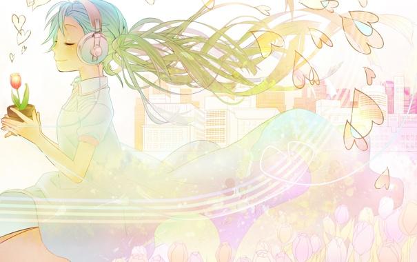 Фото обои девушка, наушники, сердечки, тюльпаны, vocaloid, hatsune miku