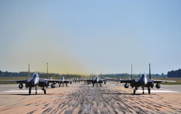 Фото обои Самолет, Истребитель, День, США, Много, ВВС, Одноместный