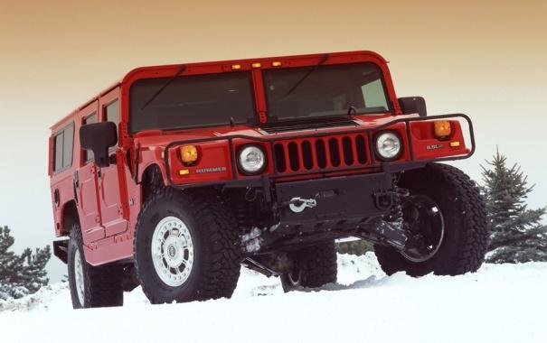 Фото обои Красный, Зима, Снег, Хаммер, Hammer