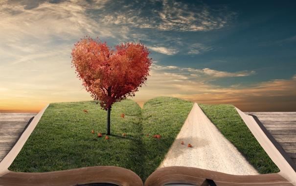 Фото обои дорога, листья, креатив, дерево, сердце, книга, закладка