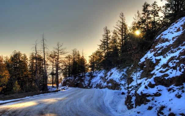 Фото обои дорога, пейзаж, весна, утро