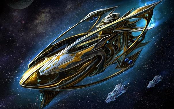 Фото обои космос, звёзды, Starcraft
