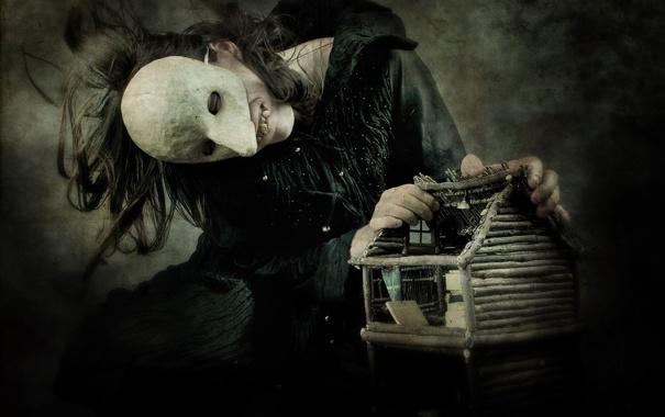 Фото обои темный, зубы, маска, домик