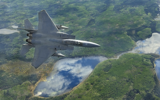 Фото обои тактический, истребитель, ландшафт, «Игл», полет, Eagle, F-15C