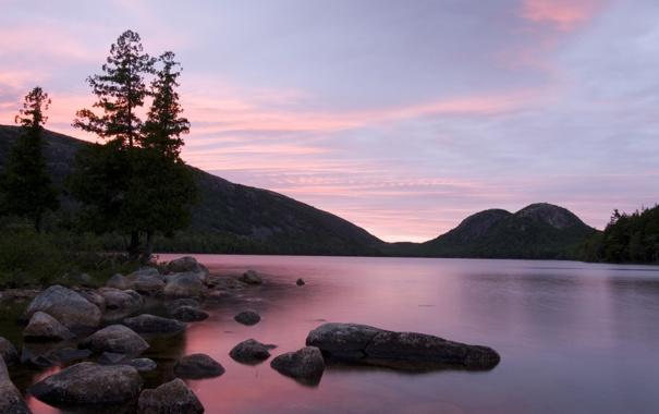 Фото обои закат, пейзаж, nature, небо, озеро, сиреневый, природа
