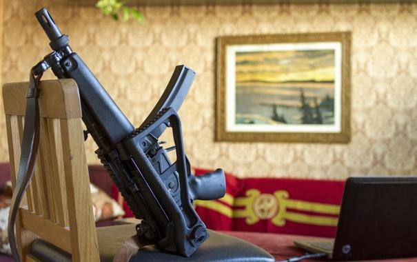 Фото обои оружие, фон, MP5