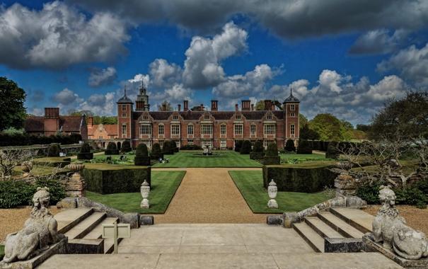 Фото обои парк, Англия, статуи, England, Norfolk, Норфолк, сфинксы