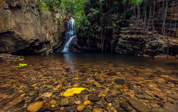 Фото обои осень, листья, деревья, камни, скалы, водопад, поток